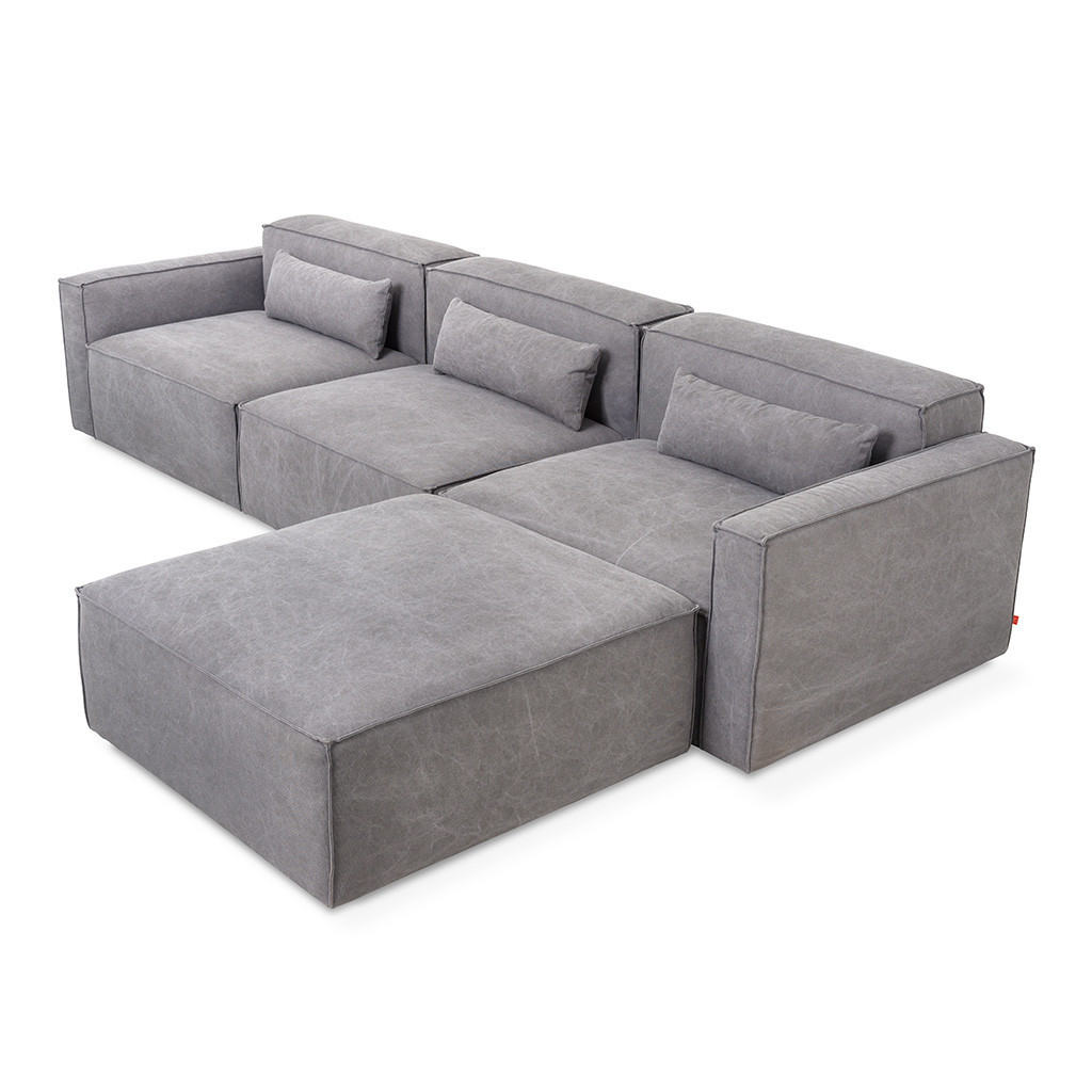 This Mix Modular 4-pc sofa is new this year, and is perfect for ultimate flexibility for large or small families. Pieces can be gradually added or moved to other rooms in the house as needed!