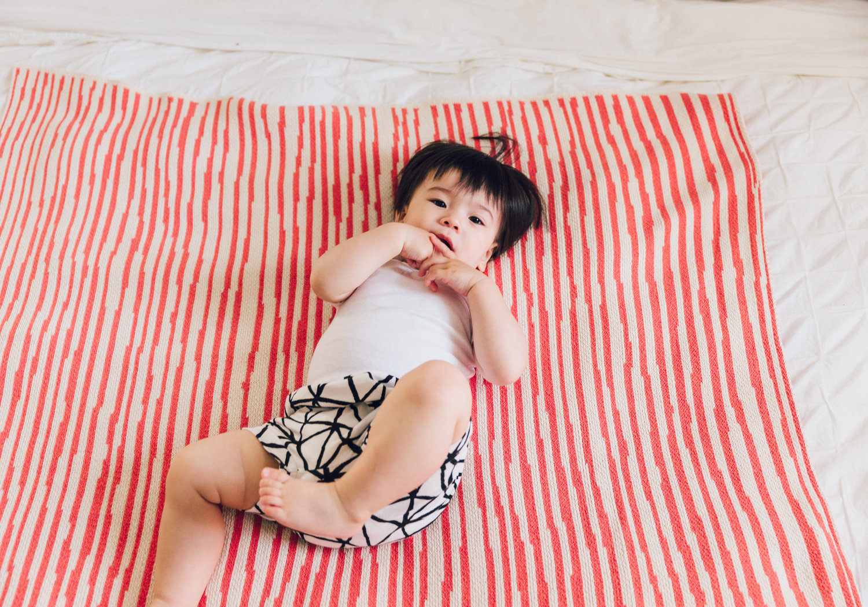 Coral Stripes Blanket, Hillary Sproatt