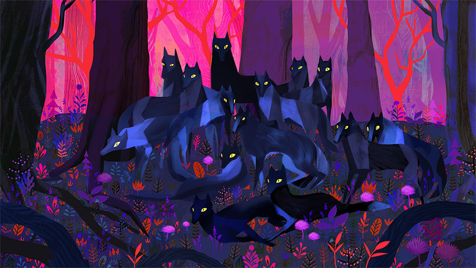 Wolves, Forest & Flowers