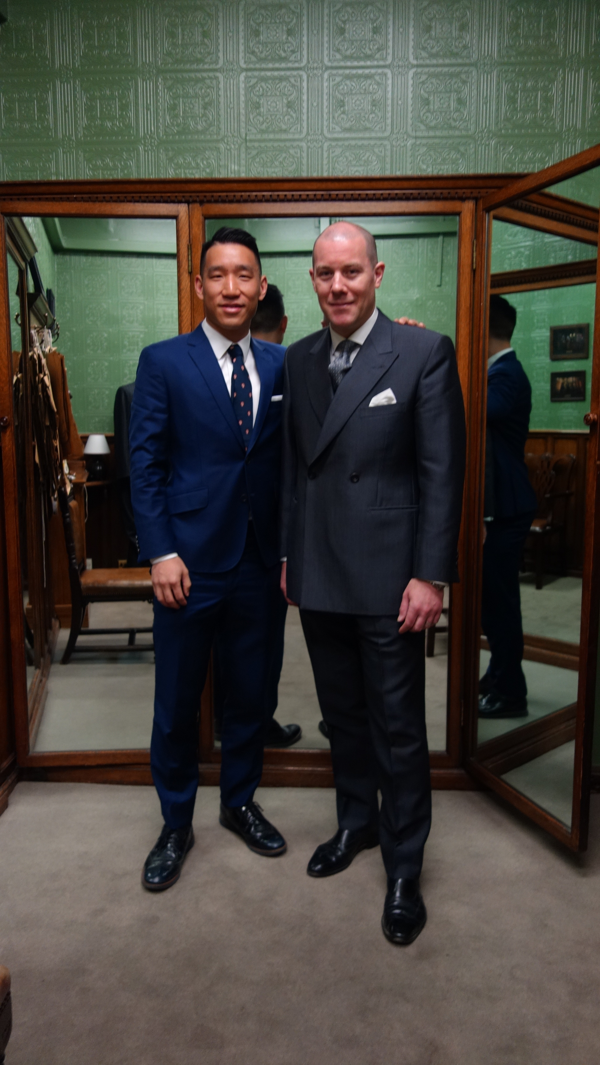 With Huntsman co-Head Cutter Dario Carnera, in the iconic fitting room that led to the secret underground lair in Kingsman