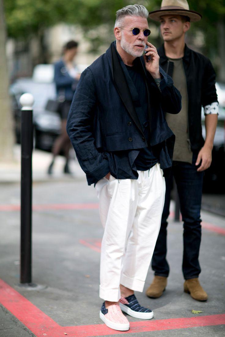 "Fashion ""Godfather"" Nick Wooster at Paris (Men's Street Style) Spring 2017"