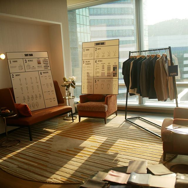 Our trademark Suit and Shirt Bar displays @thegreatroomoffices pop up event. What a beautiful co-work space!