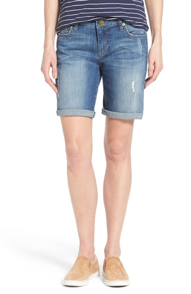 My cut-off jean shorts are old and well loved, however, you can find similar at  Nordstrom . I only roll them when appropriate and love the frayed look.