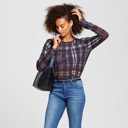 Women's Allover print crew blue plaid - Who What Wear