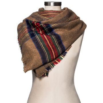 Women's Blanket Scarf Camel and Red Plaid - Merona™