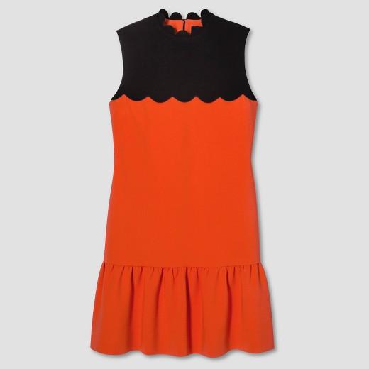 Women's Orange Drop Waist Scallop Trim Dress - Victoria Beckham for Target