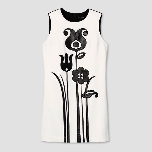 Women's Black and White Mod Shift Tulip Appliqué Dress - Victoria Beckham for Target