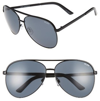 WOMEN'S QUAY AUSTRALIA VIVIENNE 64MM AVIATOR SUNGLASSES - BLACK/ SMOK