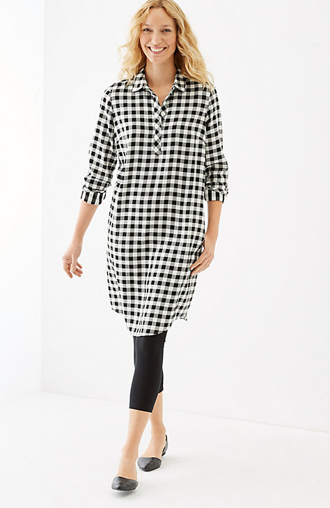 GINGHAM RAYON-TWILL SHIRTDRESS