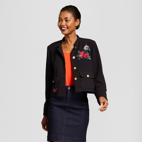 A New Day Women's Embroidered Military Jacket -
