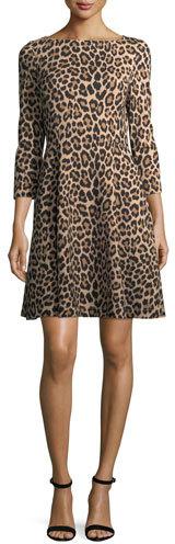 Kate Spade New York Leopard-Print 3/4-Sleeve A-Line Ponte Dress