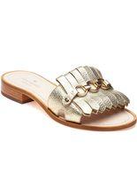Brie Gold Leather Kiltie Slide Sandals