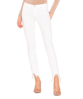White Frayed-Hem Skinny Jeans - Women