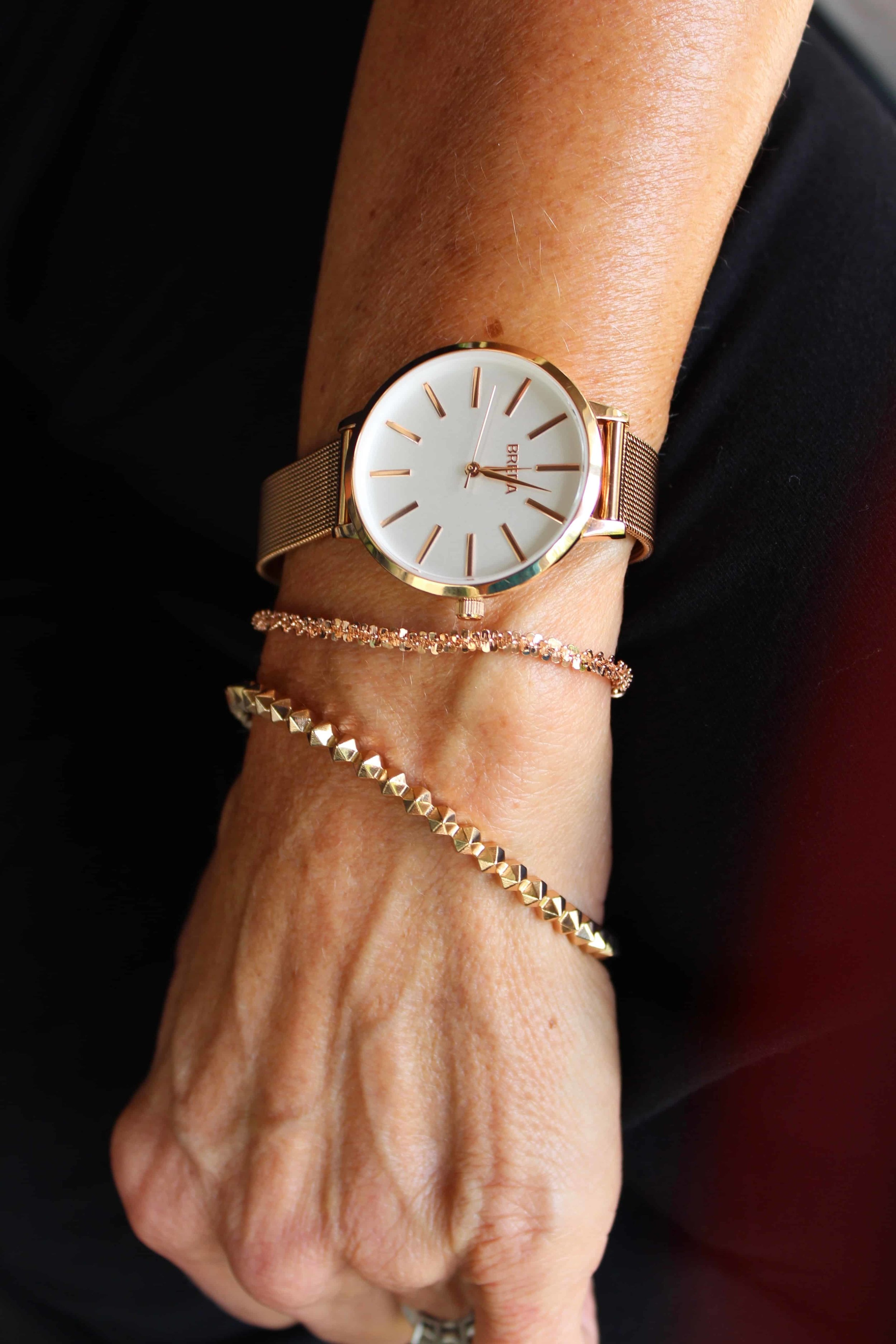 This pretty Margherita rose gold bracelet (in the middle) compliments my watch and another bracelet!