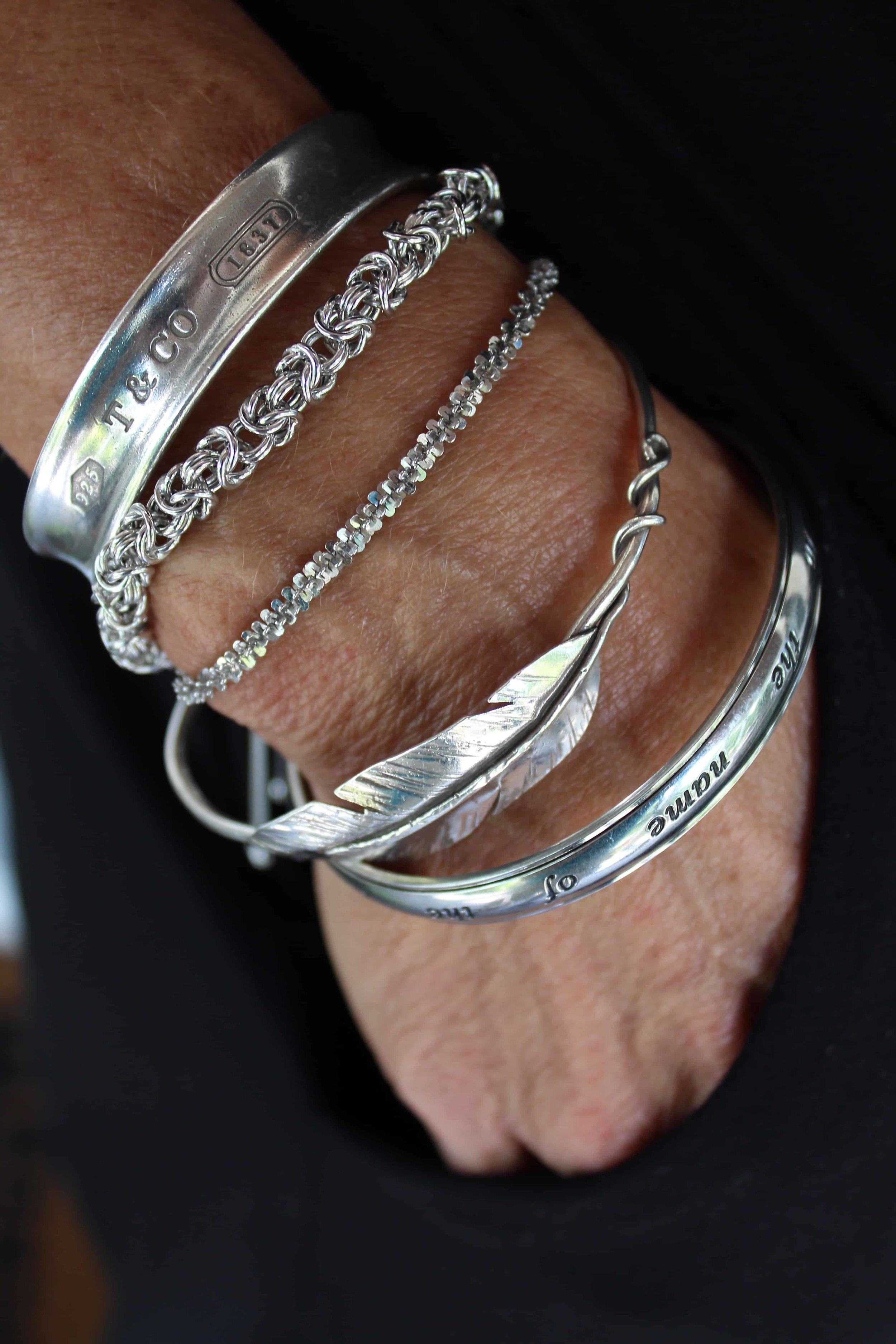 The second bracelet underneath my Tiffany bracelet is the Silvertone Byzantine and the next is the Silvertone Margherita.