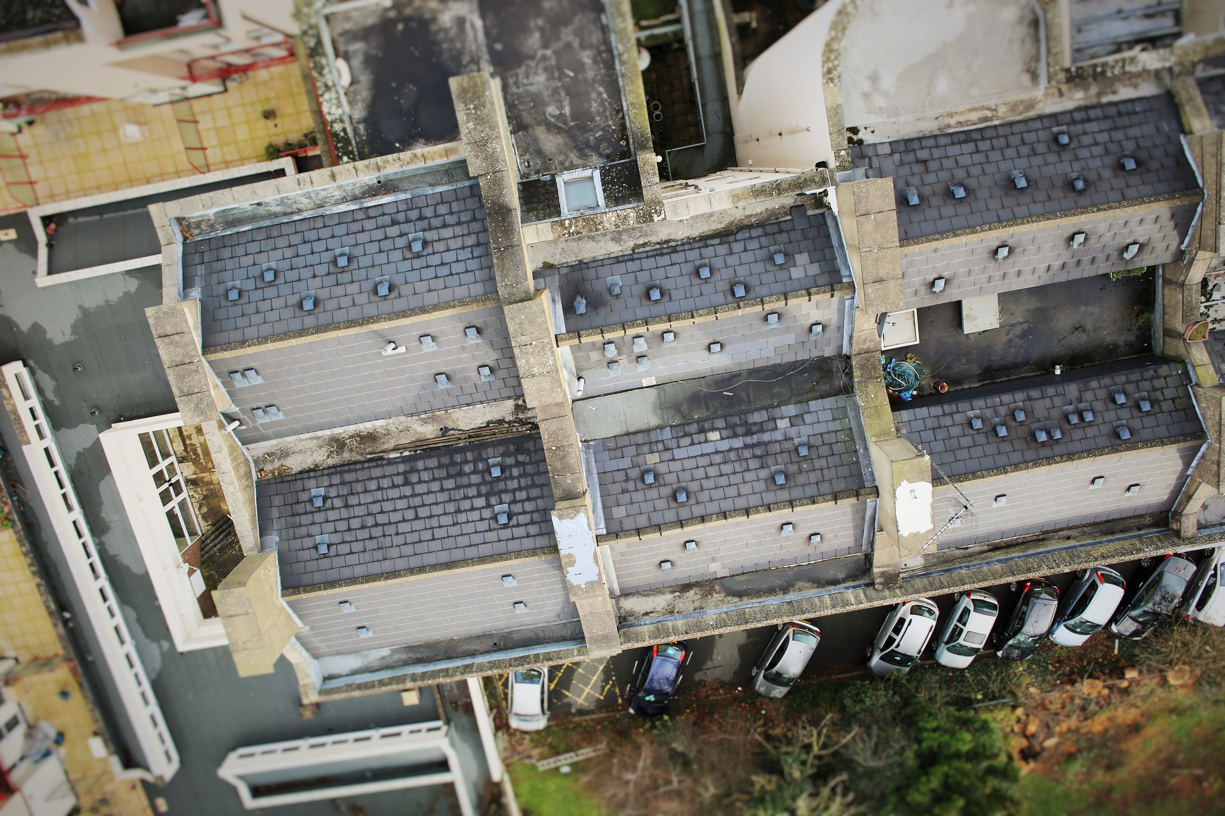A new angle on roof surveying. The drone took pictures from all angles and view-points to give us a clearer impression of the roofs condition.