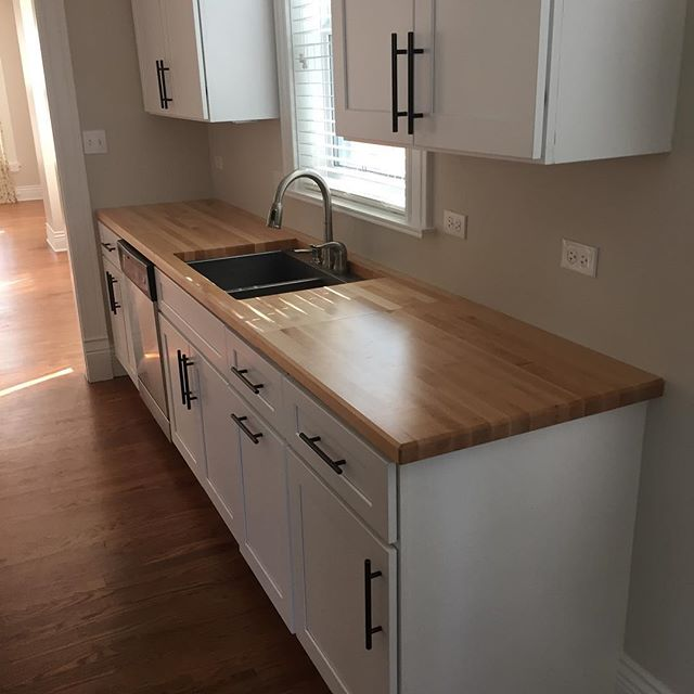 "1.5"" thick Maple counters in a new construction home."