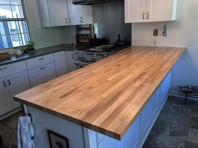 "Maple peninsula // 1.5"" thick // Durakryl 102 finish"
