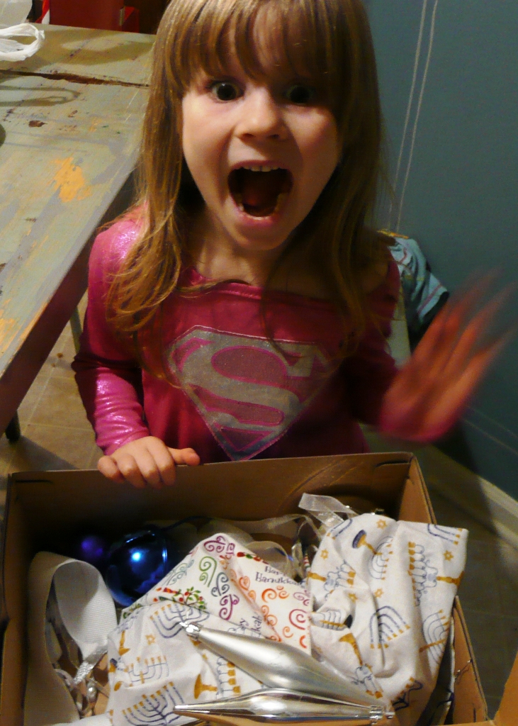 Here is Meira with all our left over decorations and so excited about this project!