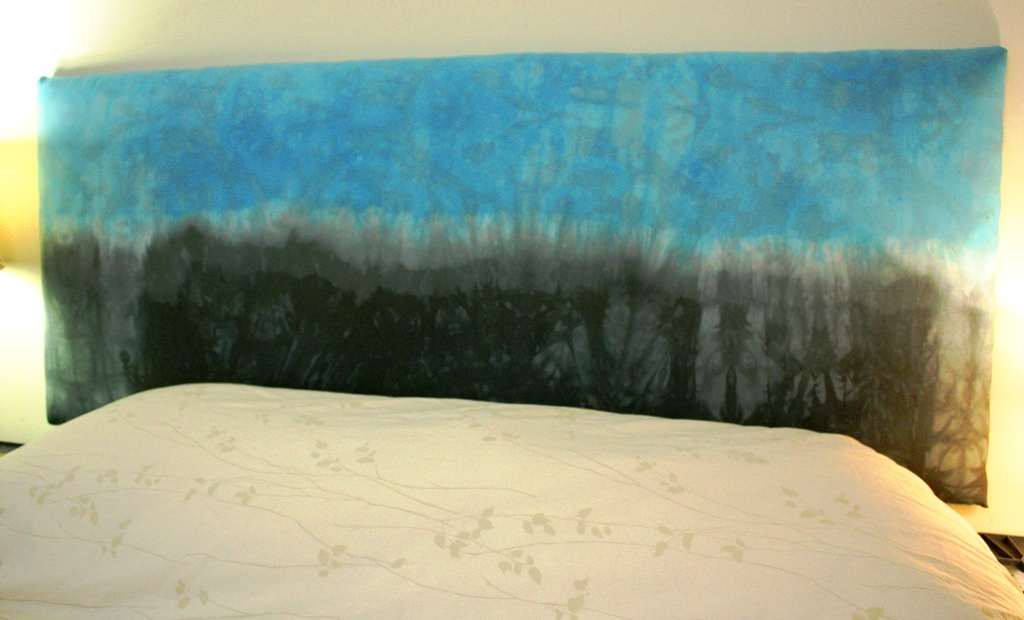 Here is the finished product! I used the dyed fabric to create a one of a kind soft headboard! I love it!