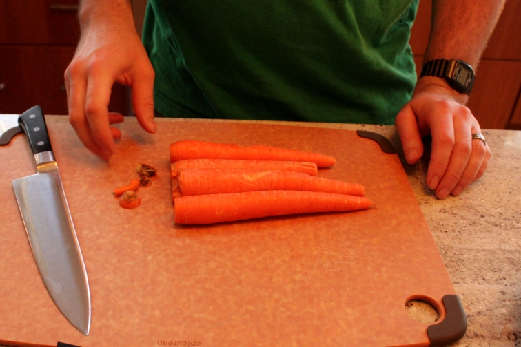 prepping carrots