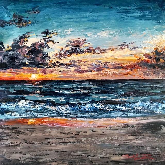 """Sunrise Sky"" 30x30 - Permanent Collection"