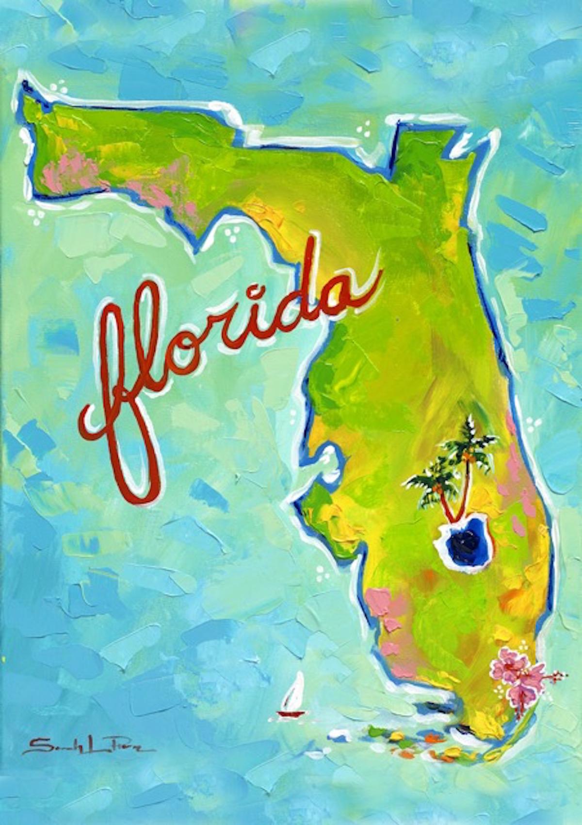 """FL Map"" 16x20 SOLD"