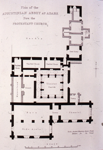 The plan of the former Augustinian Abbey in Adare, now St. Nicholas Church.