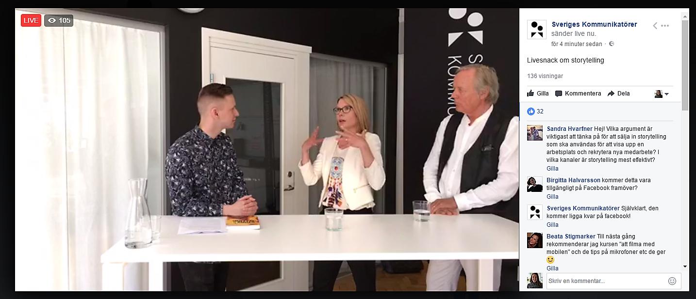 Skärmdump från Sveriges Kommunikatörers livesnack på Facebook.
