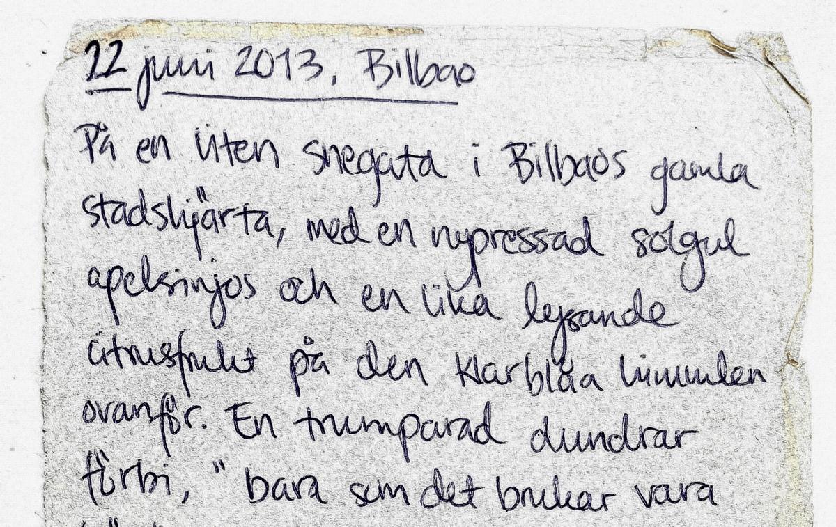 Spontana reseskildringar på ett kvittos baksida. Från en backpackresa i norra Spanien (Barcelona-Santiago de Compostela och tillbaka).