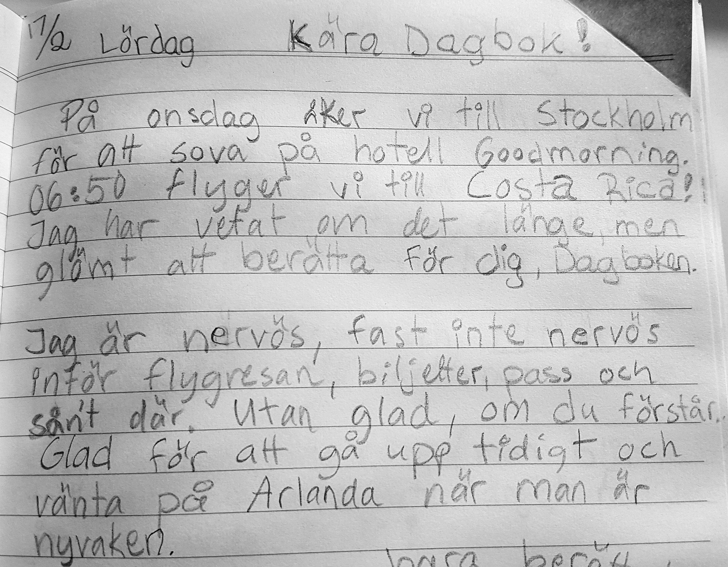 """Sanna, 10 år, försöker sätta ord på det härliga respirret inför Costa Rica: """"Jag är inte nervös... utan glad, om du förstår."""""""