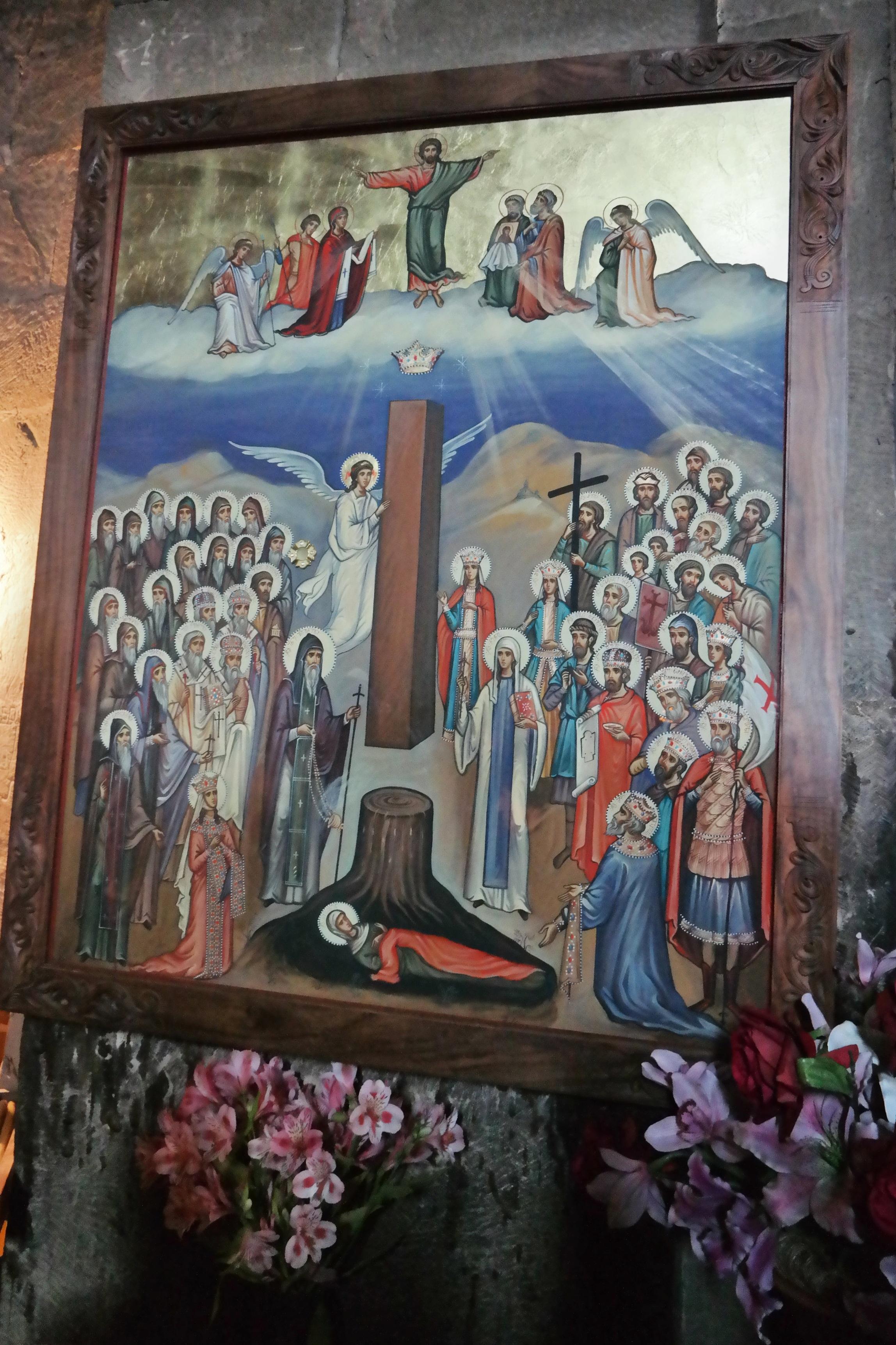En ikonisk bild över Sidonia med Jesus kläder och det svävande cederträdet.