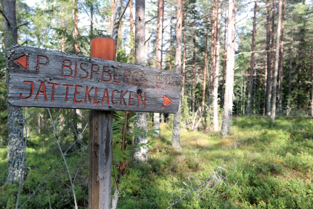 Vandringsskyltar till Bispbergs klack och Jätteklacken.