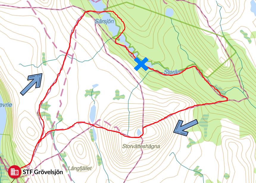 Röd markering är vår vandringsrutt och blått kryss är vindskyddet. Klicka för att se större bild!