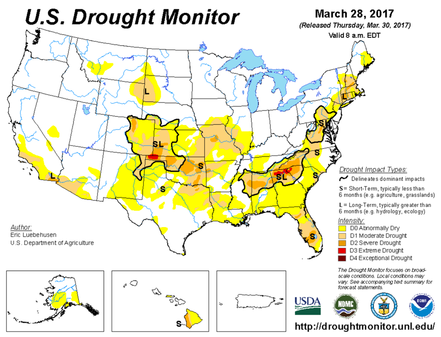 Figure 1. US Drought Monitor released on March 30, 2017. Source: USDA/NOAA  http://droughtmonitor.unl.edu/
