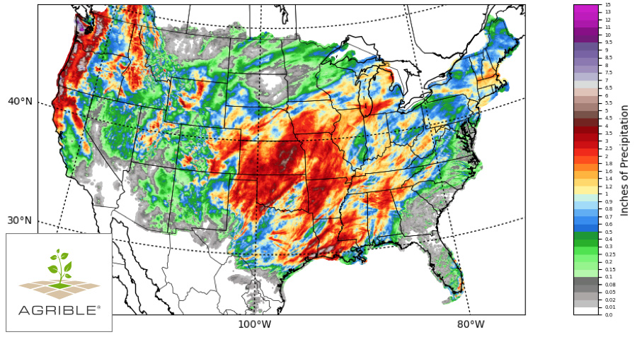 Figure 2. 7-day total accumulated precipitation valid early in the Morning on March 30, 2017. Source: Agrible, Inc.