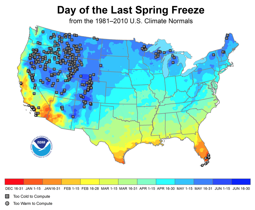 Figure 1. Average day of the last spring freeze (1981-2010). Source: NOAA.
