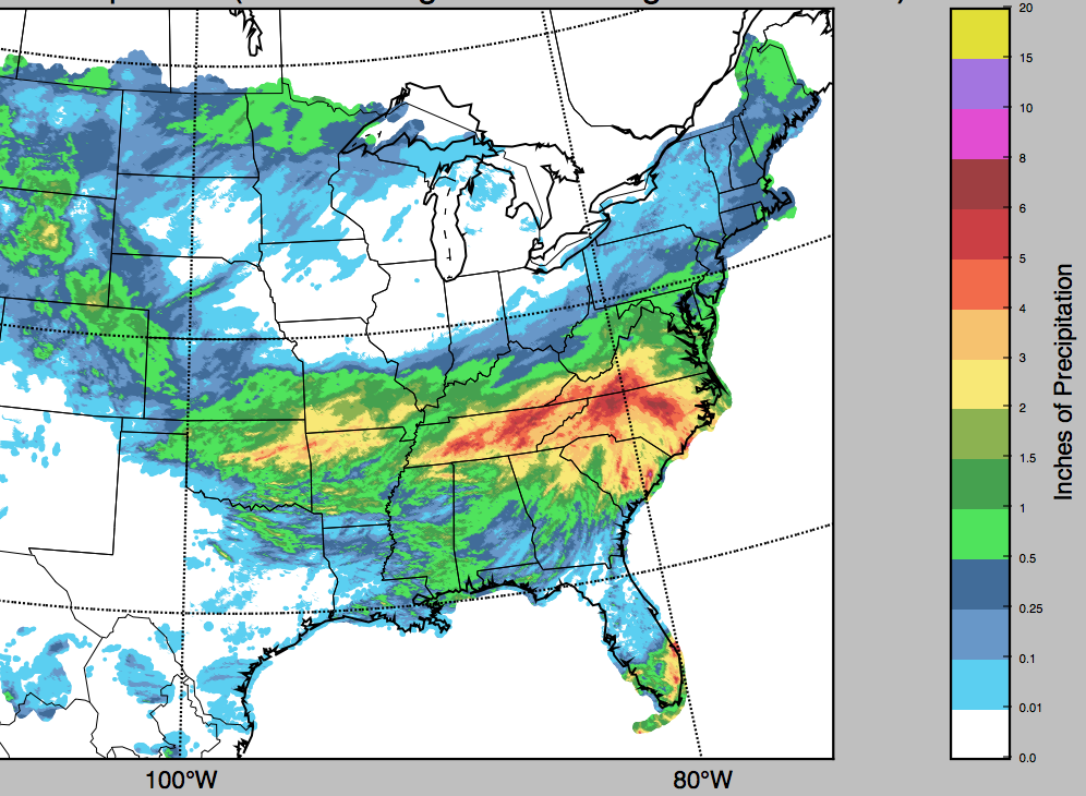 Total accumulated precipitation over the last 4 days, valid at 7 a.m.on Tuesday, April 25.(Source: Agrible)