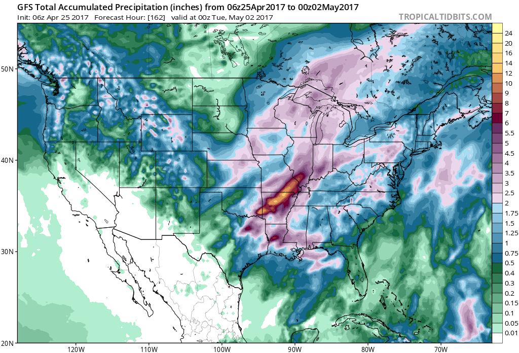 GFS Total precipitation forecast through Monday evening May 1, 2017. (Source: Tropicaltidbits.com)