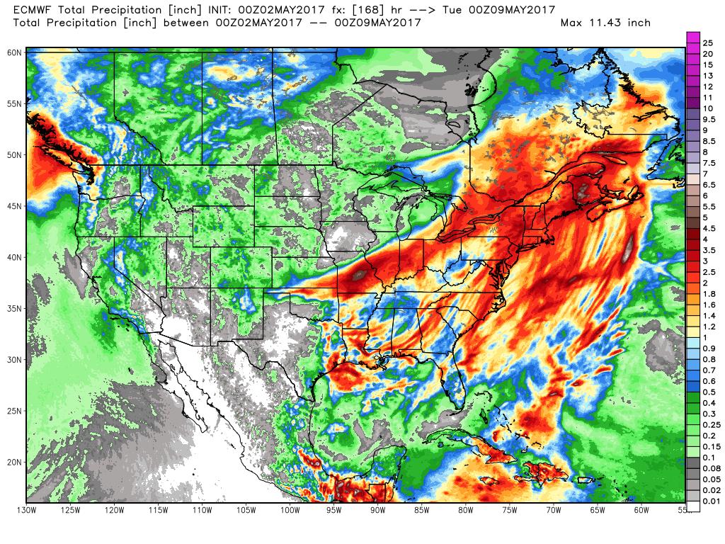 Figure 1. 7-Day precipitation totals from the ECMWF 00Z Tuesday model run.