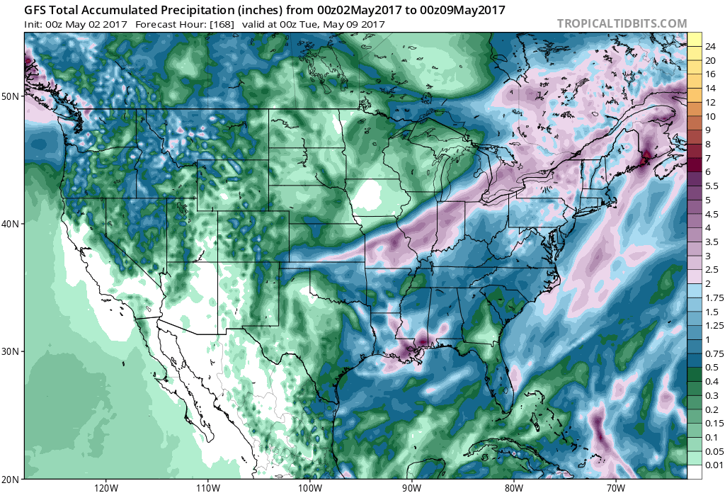 Figure 2. 7-Day precipitation totals from the GFS 00Z Tuesday model run.