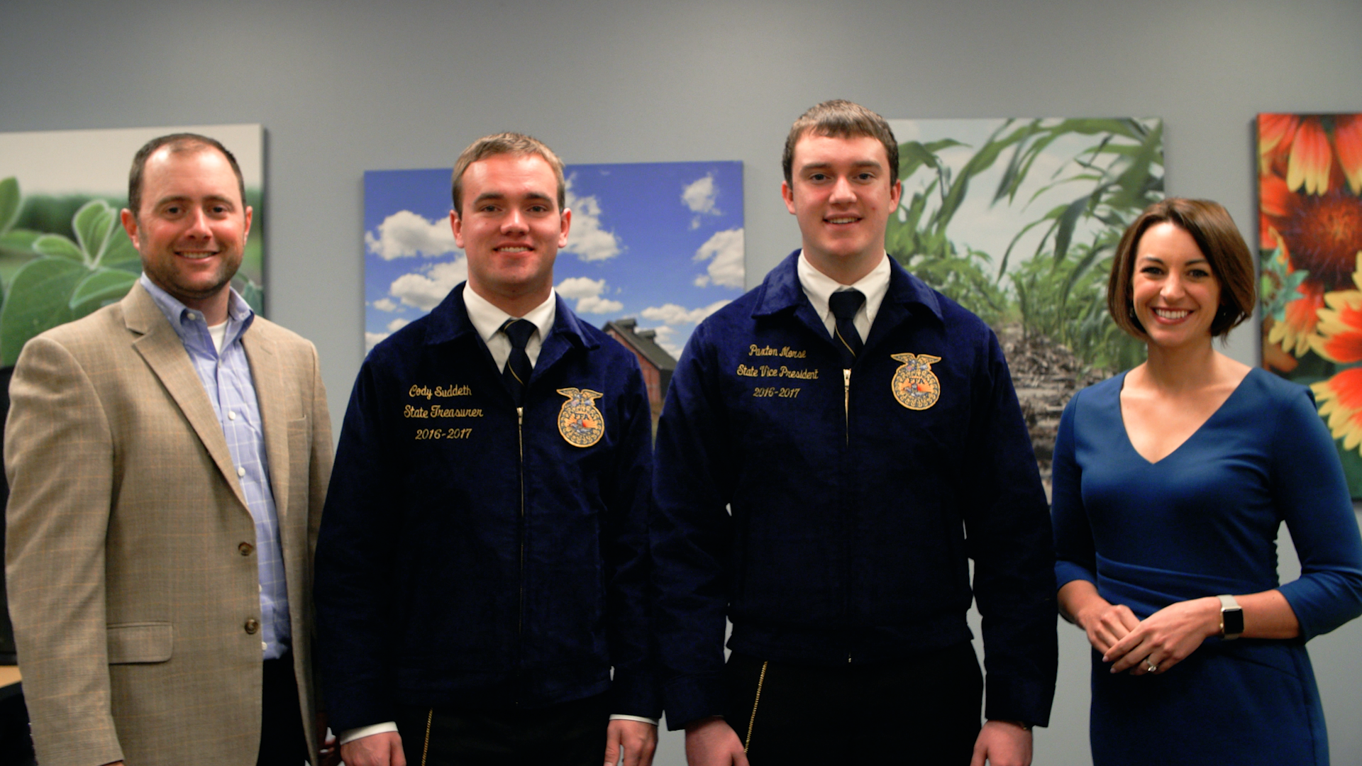 (Pictured from left to right: Brett Haas, Crop Copter Co-owner and Sales Manager, Cody Suddeth, Illinois FFA State Treasurer, and Paxton Morse, Illinois FFA State Vice President, and Cynthia Bruno, Agrible, Inc. Chief Strategy Officer.)