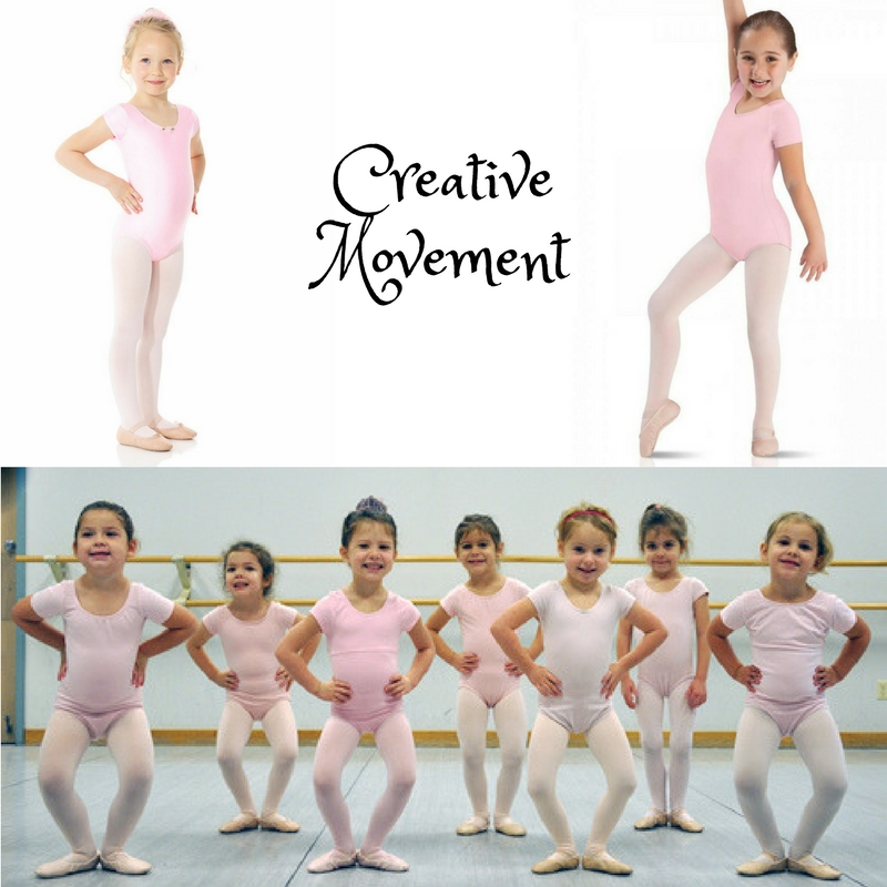 Creative movement (3-4 year olds)   Creative Movement 1/2   Girls: Plain pink short/sleeved leotard, pink tights, and pink ballet slippers. (No house slippers). No attached skirts. Hair in a bun.  Boys :  Black pants or shorts, plain white t/shirt, and black leather ballet slippers.