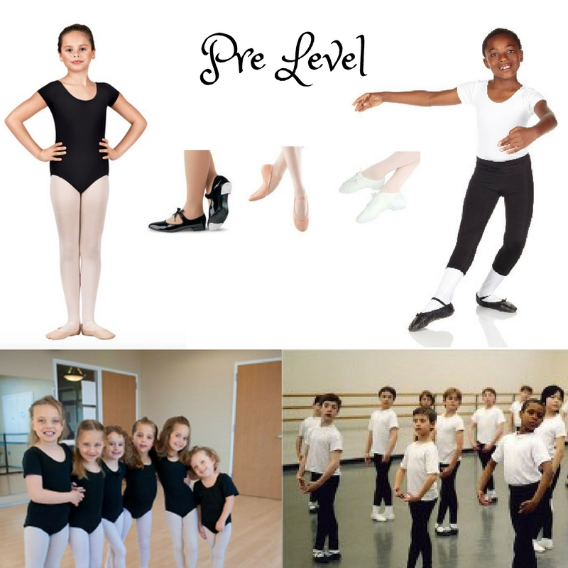Pre Level Program (5-8 year olds)   Pre/Ballet    Girls: Plain black short/sleeved leotard, pink tights, and pink ballet slippers. No house slippers. No attached skirts. Hair in a bun.        SHAPE    \* MERGEFORMAT                                             Boys :  Black pants or shorts, plain white t/shirt, black leather ballet slippers.   Pre/Jazz    Girls: White leather tie/up jazz oxfords, plain black cap sleeved leotard, pink tights, and hair in a bun.  Boys: Black leather tie/up jazz oxfords, black pants or shorts, and plain white t/shirt.        SHAPE    \* MERGEFORMAT                                              Pre/Tap    Girls: Flat black patent tap shoes, plain black cap sleeved leotard, pink tights, and hair in a bun.        SHAPE    \* MERGEFORMAT                                                   Boys: Flat black patent tap shoes, black pants or shorts, and plain white t/shirt.