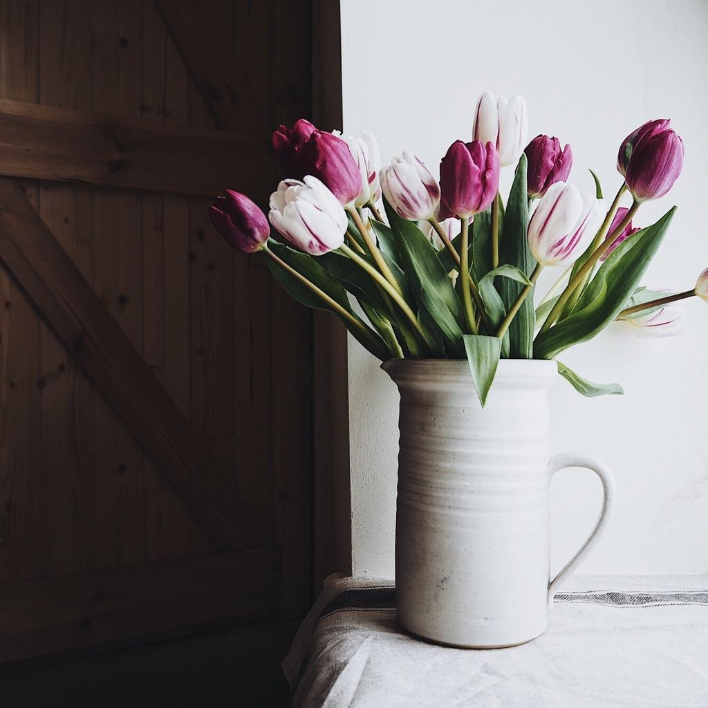 Jug of purple tulips on a windowsill.jpg