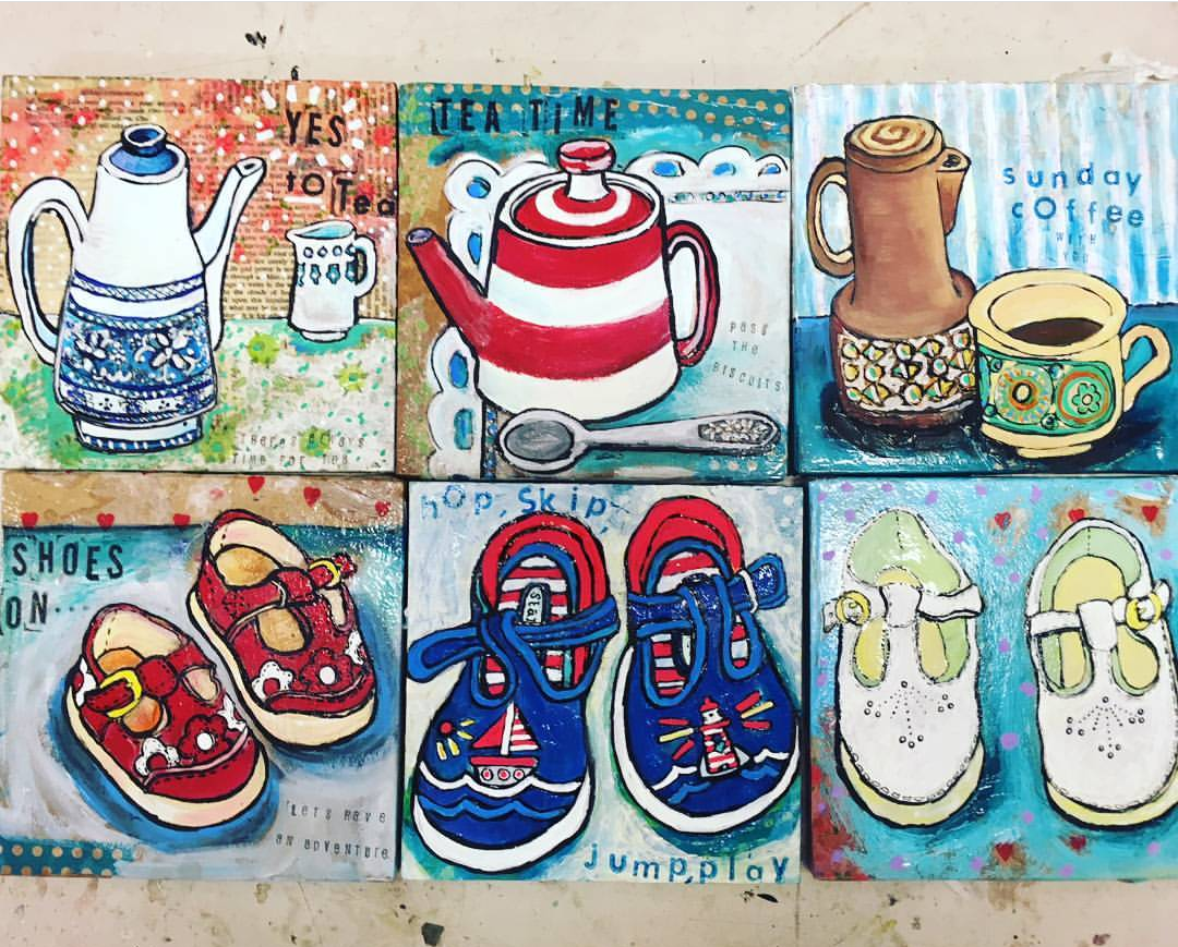 Coffee pots and shoes  by Bethan Laker