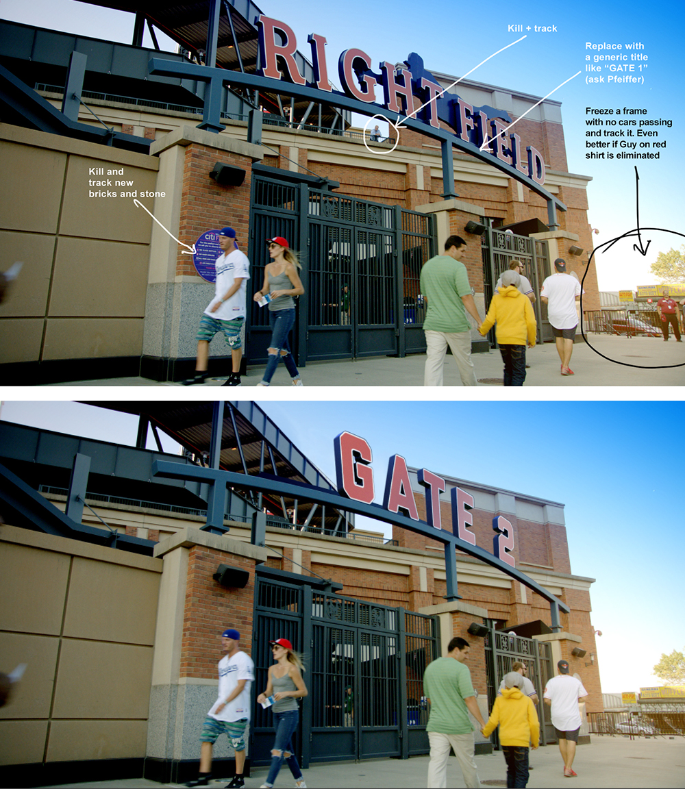 Another example of the collaboration of the teams involved in this production. My notes (above) where taken by the guys of creative services at MLB Network to produce a new reality.