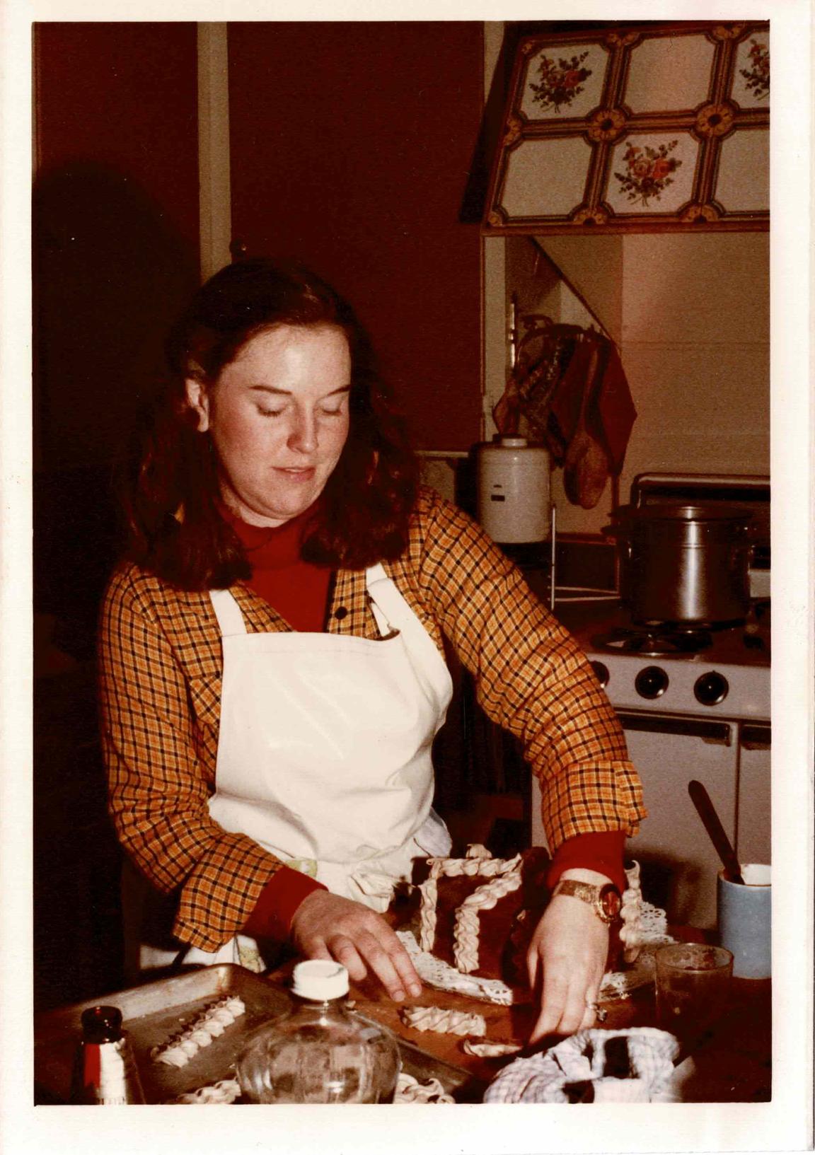 Kay Pratt, our Founder's mom, assembling a cake