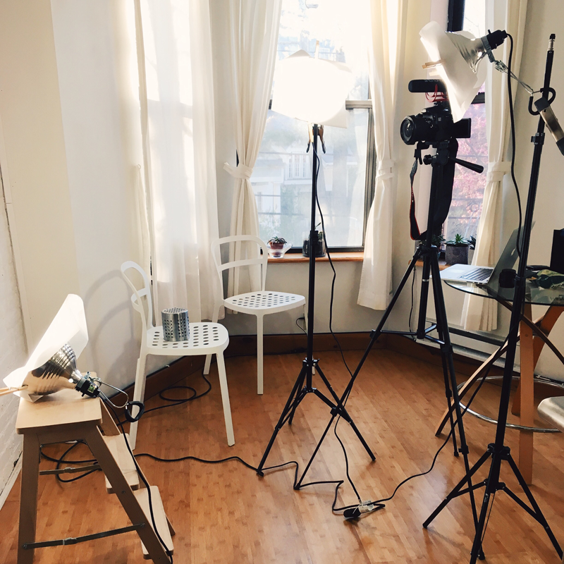 Here's my DIY Down and Dirty Lighting Kit setup thanks to Wistia.