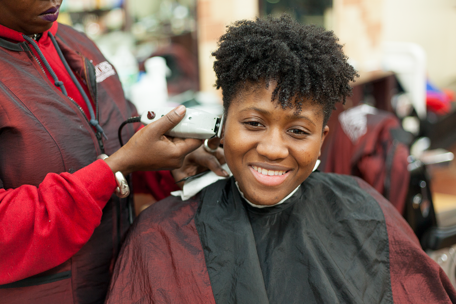 Happiness in a barber's chair.
